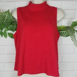 Anthropologie postmark red textured sleeveless top